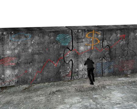 Zakenman die reusachtige raadseldeur van concrete muur met bedrijfsconceptenkrabbels duwt, die op witte achtergrond worden geïsoleerd