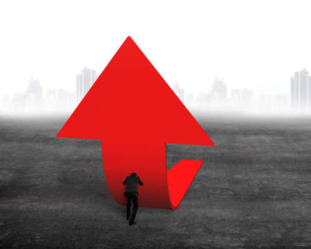 upward struggle: Businessman pushing red trend 3D arrow upward on concrete floor with cityscape skyline background Stock Photo