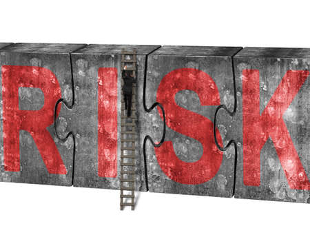 arduous: Man climbing ladder conquering huge puzzles concrete wall with red risk word, isolated on white background Stock Photo