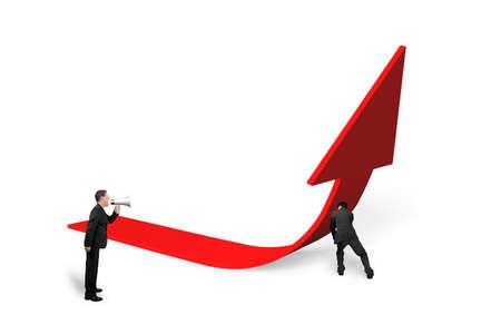 upward struggle: Boss using speaker yelling at employee pushing red trend 3D arrow upward, isolated on white background