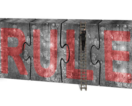 break the rules: Man climbing ladder conquering huge puzzles concrete wall with red rule word, isolated on white background