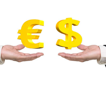 foreign exchange: Dollar sign on right hand and Euro symbol on left hand, foreign exchange concepts. Stock Photo
