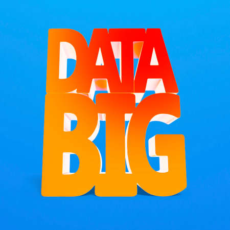 complex system: Big data 3D word with red orange color, isolated on blue Stock Photo