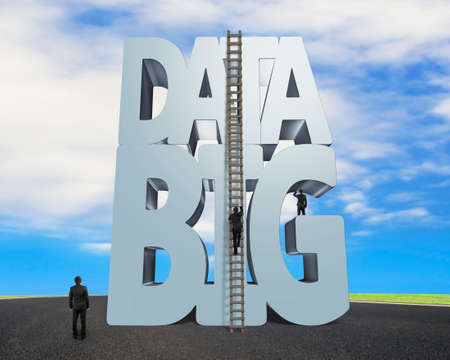 datum: Big data 3D gray word and wood ladder with small group of business people, on sky asphalt road background