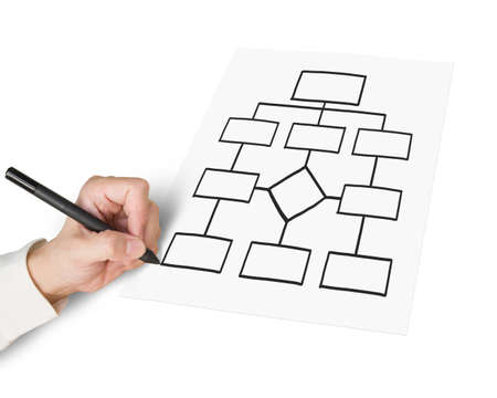 Male Hand Using Pen Sketching Blank Organization Chart Isolated