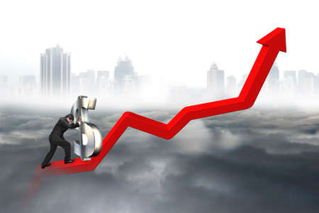 upward struggle: Business man push 3D dollar sign upward at starting point of red trend line with city landscape gray cloudscape background Stock Photo