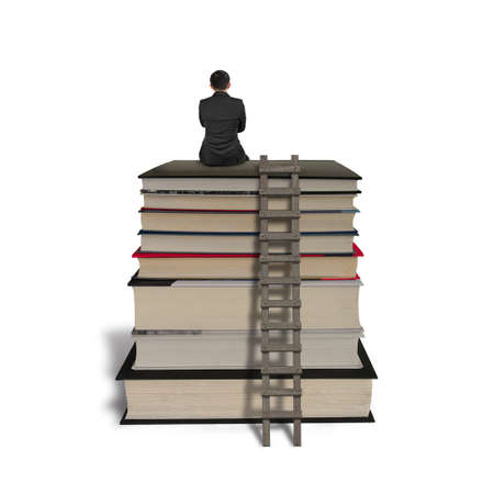 ladder: Businessman sitting on stack of books with wooden ladder, isolated on white.