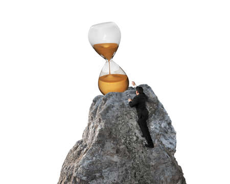 hour glass: Businessman trying to grab hour glass on mountain peak, with white background.