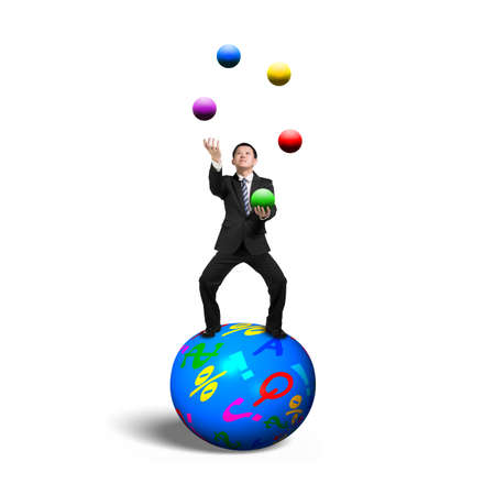 Businessman balancing on sphere juggling with balls, isolated on white background.