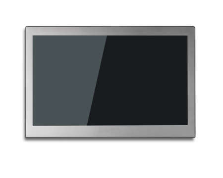 flat screen tv: Blank black wide flat TV screen isolated on white background.