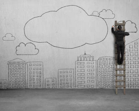 sky clouds: Climbing ladder businessman drawing clouds with copy space and city buildings doodles on concrete wall.