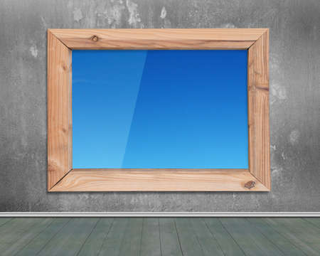 window view: Wooden frame window with view of blue sky, on concrete wall and wood floor background.