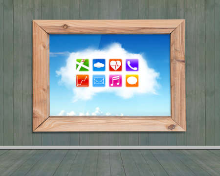 window view: Wood frame window with view of colorful app icons on white cloud, on wooden wall and floor indoors background. Stock Photo