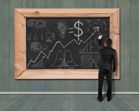 Businessman drawing business concept doodles on black chalkboard with green wood wall and floor background
