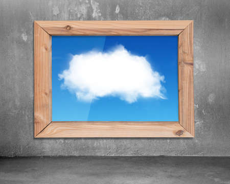window view: Wood frame window with view of  white cloud blue sky, on concrete wall and floor indoors background.