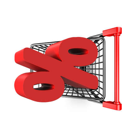 high angle view: 3D red percentage sign in the shopping cart, high angle view, isolated on white