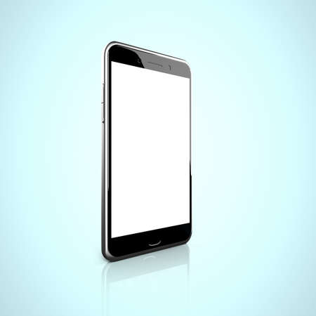 touch screen: Smart phone with blank white touch screen, side view.