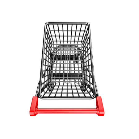 high angle view: 3D empty shopping cart, high angle view, isolated on white.