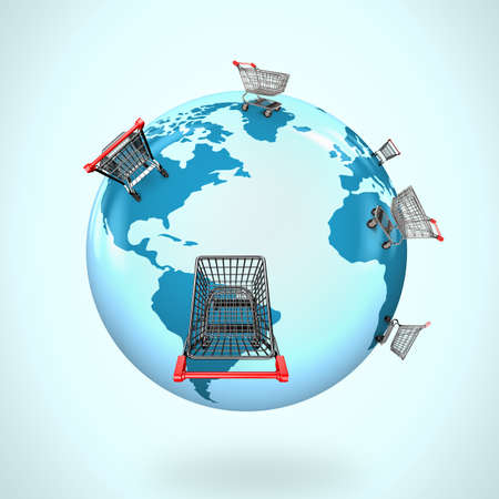 global market: 3D globe with world map of shopping carts worldwide, global shopping concept.