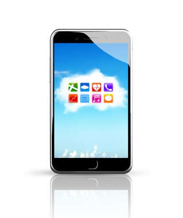 touchscreen: Smart phone with colorful app icons on white cloud touchscreen, white background.