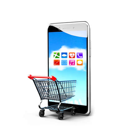 Shopping cart and smart phone with colorful app icons touchscreen, isolated on white, on line shopping concept.