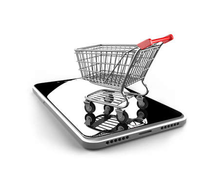 Shopping cart with smart phone of black glass, isolated on white, on line shopping concept.
