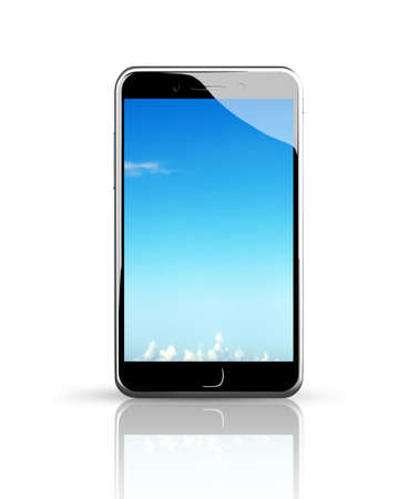 touch screen phone: Smart phone with blue sky touch screen, white background.