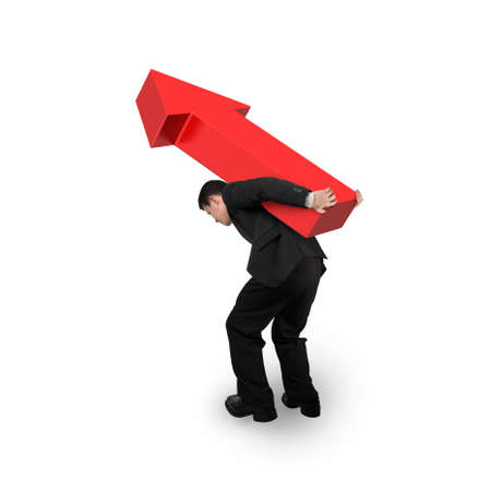 hard work ahead: Business man carrying 3D red arrow up sign, isolated on white background. Stock Photo