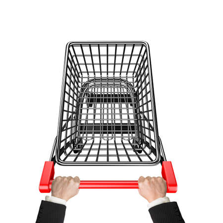 high angle view: Hands pushing 3D empty shopping cart, high angle view, isolated on white.