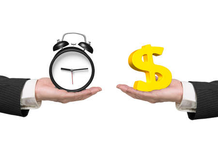 Dollar sign on one hand and alarm clock on another hand, isolated on white, concept of deal and time.