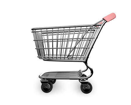 3D empty shopping cart, side view, isolated on white.