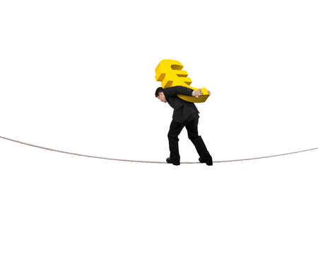euro sign: Businessman carrying golden euro sign balancing on tightrope, with white background. Stock Photo