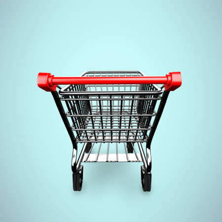 product cart: 3D empty shopping cart, rear view, isolated on green. Stock Photo