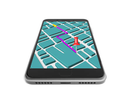 red pushpin: Touchscreen smartphone with GPS navigation application, red pushpin marked on map, isolated on white.