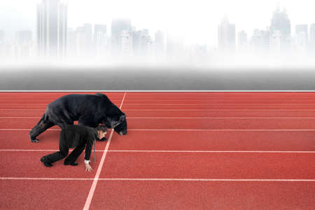 run faster: Businessman and black bear are ready to race on running track, with gray city skyline background.