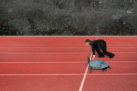 run faster: Businessman and turtle are ready to race on running track, with old mottled concrete wall background. Turtle race competing metaphor concept. Stock Photo