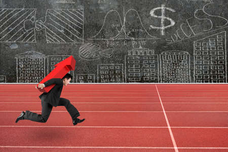 business performance: Businessman carrying 3D red arrow up running on track, with business concepts doodles wall background.