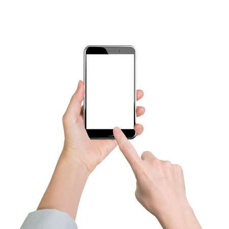 Woman hand holding smart phone, with finger touching blank white screen, front view, isolated on white.