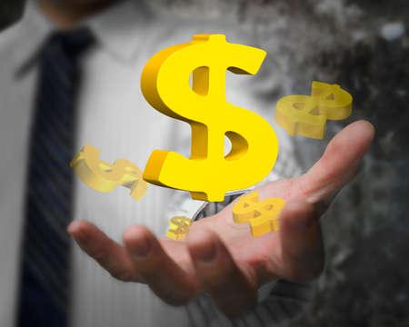 gestos: hombre de negocios que muestra la mano 3D signos de dólar de oro.