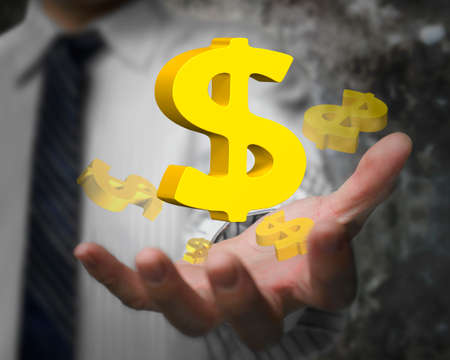 Business man hand showing 3D golden dollar signs.