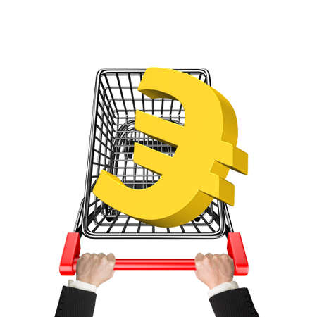 euro sign: Hands pushing shopping cart with 3D golden euro sign, high angle view, isolated on white.