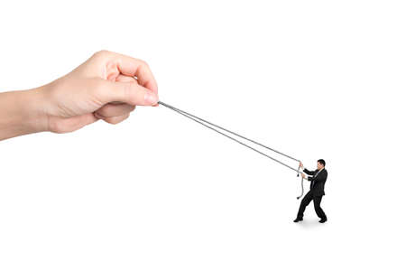 woman rope: Businessman pulling rope against big woman hand, isolated on white.
