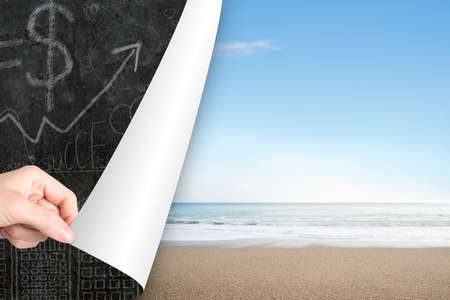 replace: Woman hand open natural sea beach page to replace business concepts doodles