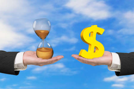 buy sell: Dollar sign on one hand and hour glass on another hand, with nature sky background, concept of deal and time. Stock Photo