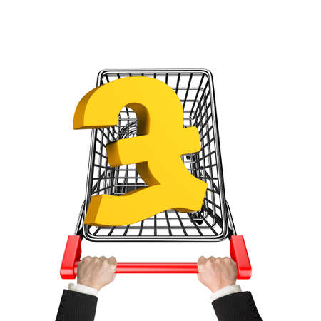 pound sterling: Hands pushing shopping cart with 3D golden pound sterling symbol, high angle view, isolated on white.