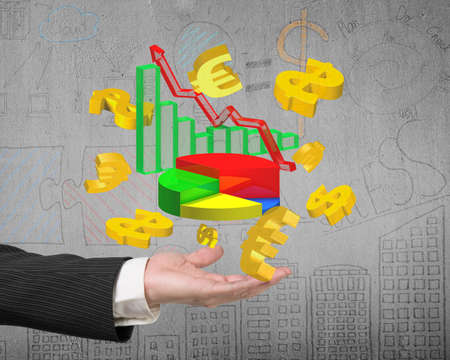 gold bar earn: Man hand showing 3D colorful business growth graphs with golden dollar signs and euro symbols, on doodles concrete wall background. Stock Photo