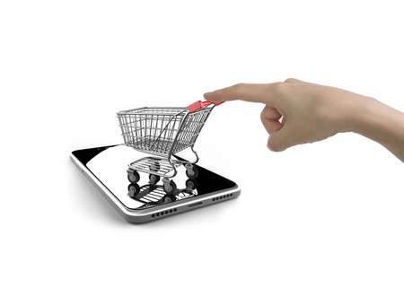 Woman forefinger pushing small shopping cart on smartphone of white screen, isolated on white, on line shopping concept.