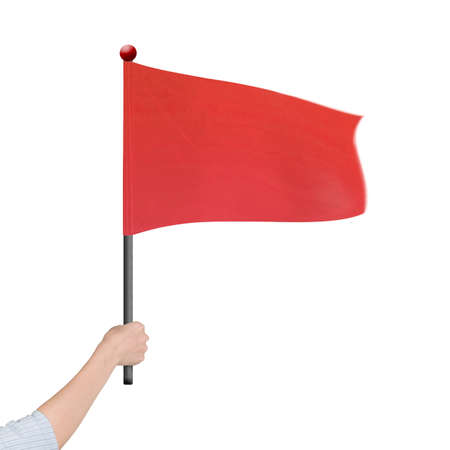 Woman hand holding blank red flag, isolated on white background.