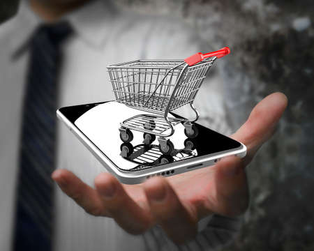 e commerce: Businessman hand showing shopping cart with smart phone, on line shopping concept.