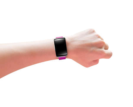 wrist: Female hand wearing smart watch with blank black glass bent touchscreen, isolated on white. Stock Photo